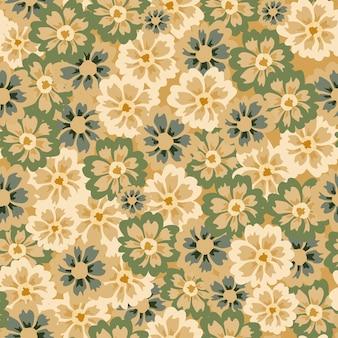 노란색 바탕에 원활한 패턴 애 스 터입니다. 낙서 스타일의 아름 다운 질감 녹색 꽃입니다.