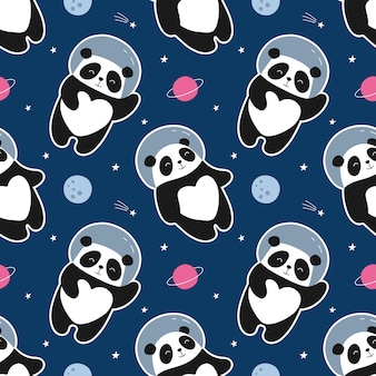 Seamless pattern astronaut panda flies in space. cute illustration for the children.