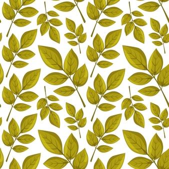 シームレスなパターンの秋と春の緑の葉スタイリッシュな自然飾り