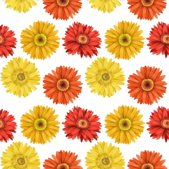 Seamless pattern of autumn asters and gerbera flowers