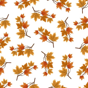 Seamless pattern of autumn branch for background design