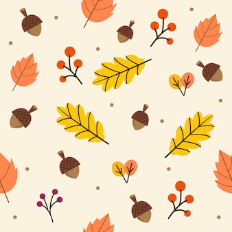 The seamless pattern of autumn or fall leaves in the yellow background.