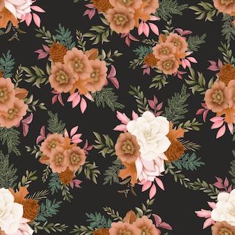 Seamless pattern autumn flower design