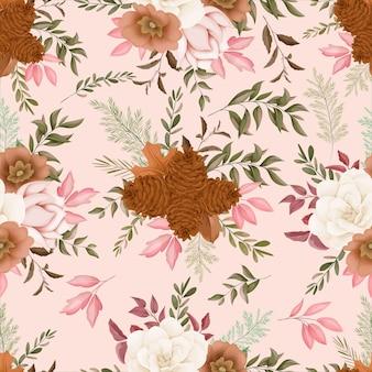 シームレスなパターンの秋の花のデザイン