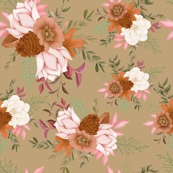 Disegno del fiore autunnale senza cuciture