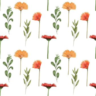 Seamless pattern of autumn gerbera flowers and green branches
