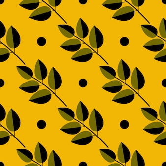 Seamless pattern of autumn illustration with leaves. floral natural design