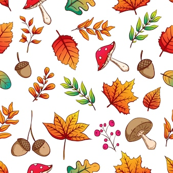 Seamless pattern autumn leaves acorns and mushrooms