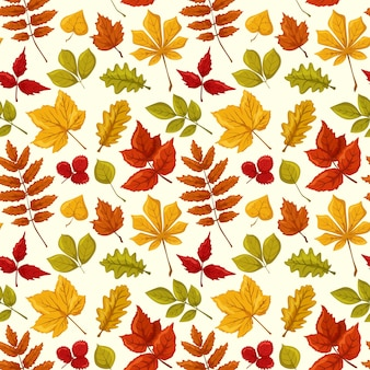シームレスパターン紅葉秋の飾りオークメープルストロベリーアスペン栗の葉