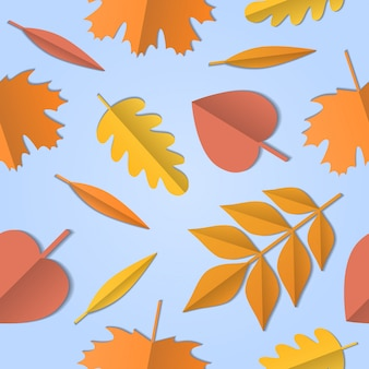 Seamless pattern of autumn leaves of different tree, paper art background