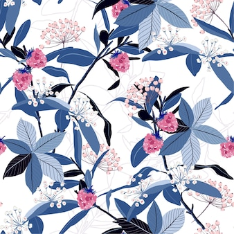 Seamless pattern of autumn leaves na berries
