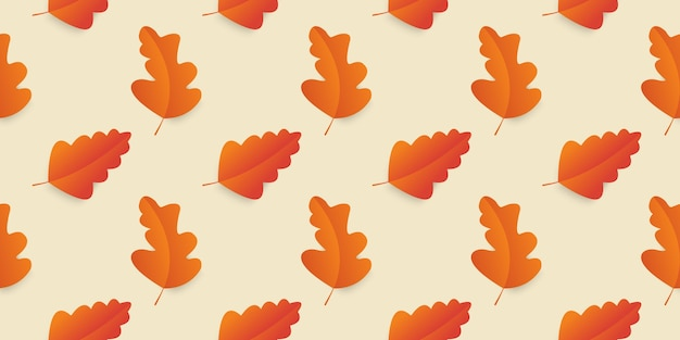 Seamless pattern autumn leaves in orange, beige, brown colors.