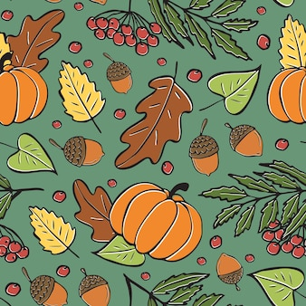 Seamless pattern of autumn leaves pumpkinsacorns autumn bright pattern handdrawn fallen leaves