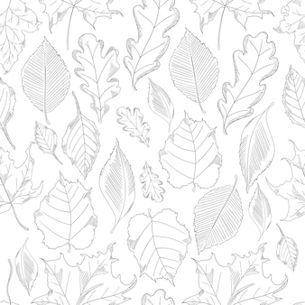 Seamless pattern autumn leaves set in a sketch style.