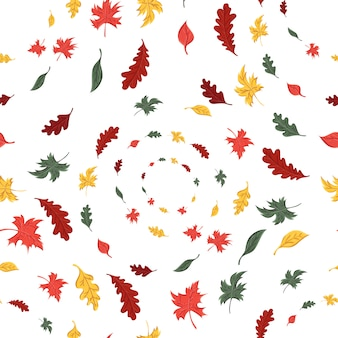 Seamless pattern of autumn leaves of trees and oak and maple