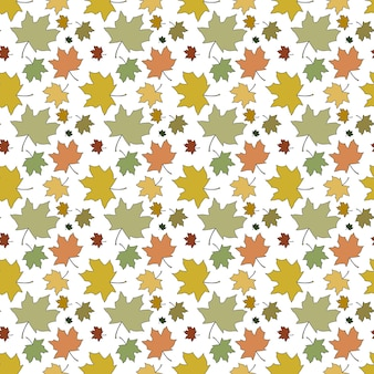 Seamless pattern autumn maple leaves colored