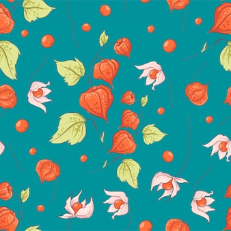 Seamless pattern autumn physalis flowers, leaves and fruits.