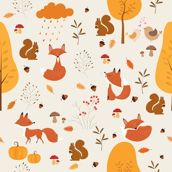 Seamless pattern of autumn with cute fox and squirrel.