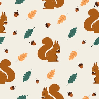 Seamless pattern of autumn with cute squirrel.