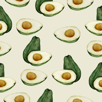 Seamless pattern of avocado fruit with full and half