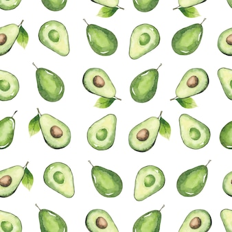 Seamless pattern of avocados and leaves, watercolor elements isolated on white