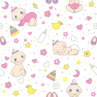 Seamless pattern for baby girls.