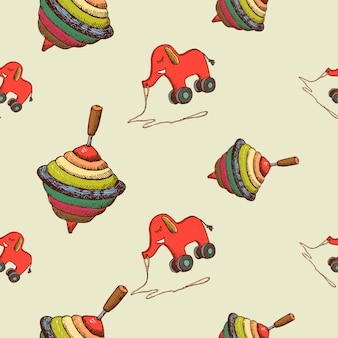 Seamless pattern baby toys whirligig and elephant