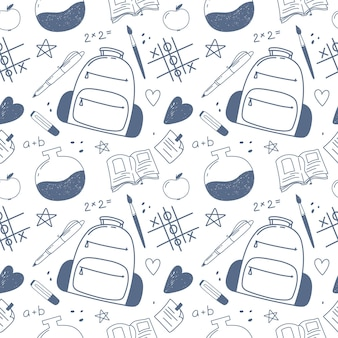 Seamless pattern back to school hand drawn doodle vector school symbols funny sketch isolates