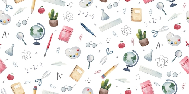 Seamless pattern back to school handdrawn background with school and creative elements illustration