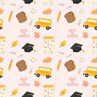 Seamless pattern back to school with training accessories of school.