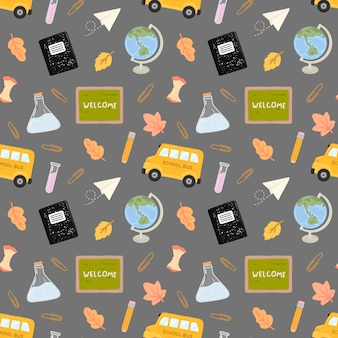 Seamless pattern back to school with training accessories of school
