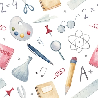 Бесшовные модели. обратно в школу. рисованный фон со школьными принадлежностями и творческими элементами
