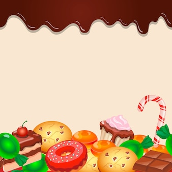 Seamless pattern background colorful candy sweets and chocolate