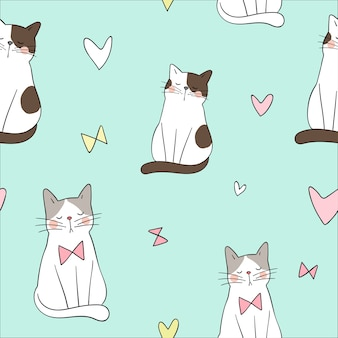 Seamless pattern background cute cat on green pastel