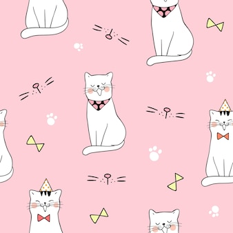 Seamless pattern background cute cat on pink pastel color