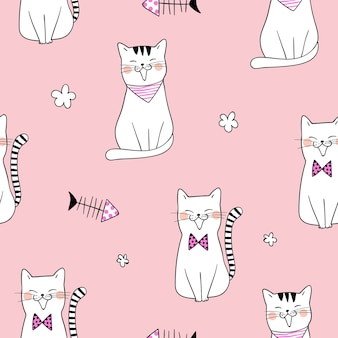 Seamless pattern background cute cat on pink pastel