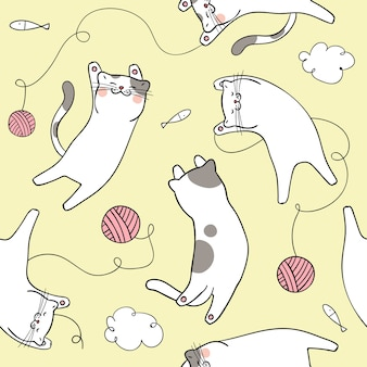 Seamless pattern background cute cat on yellow pastel