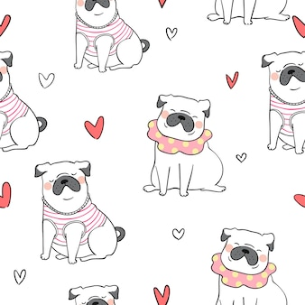 Seamless pattern background cute pug dog doodle style