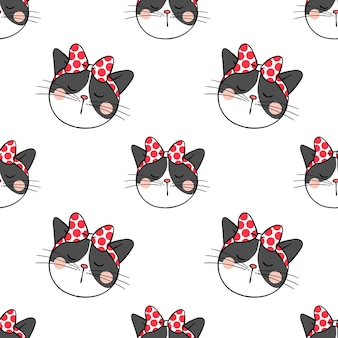 Seamless pattern background design head of black cat