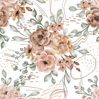 Tema autunnale di fiori e foglie di sfondo senza cuciture