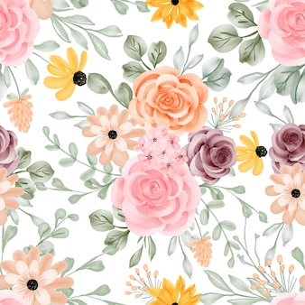 Seamless pattern background flower and leaves
