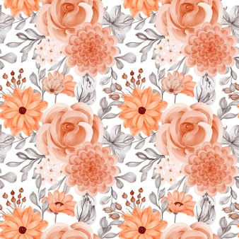 Seamless pattern background of flower orange and leaves