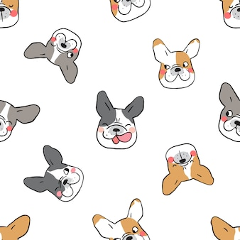 Seamless pattern background french bulldog on white