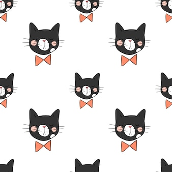 Seamless pattern background head of black cat on white