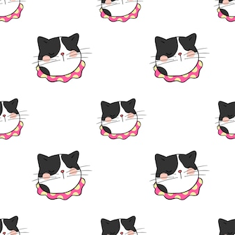 Seamless pattern background head of black cat