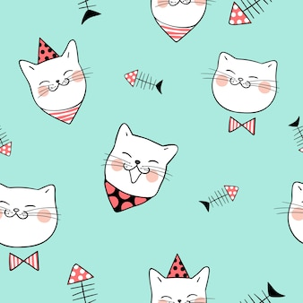 Seamless pattern background head of cat on green pastel