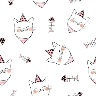 Seamless pattern background head of cat on white