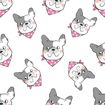 Seamless pattern background head french bulldog on white