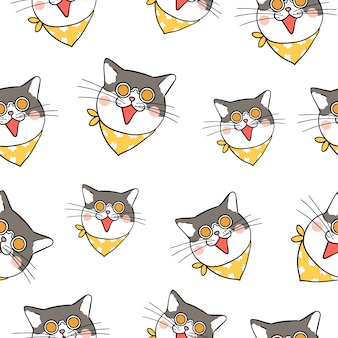Seamless pattern background head of cat