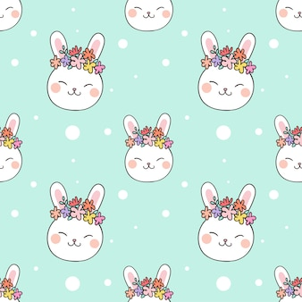 Seamless pattern background head rabbit on pastel color